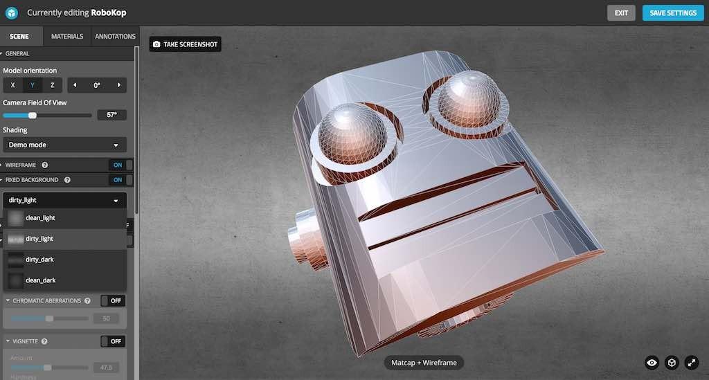 Met de editor van Sketchfab kunt u modellen voorzien van notities en de manier bepalen waarop een model wordt weergegeven.